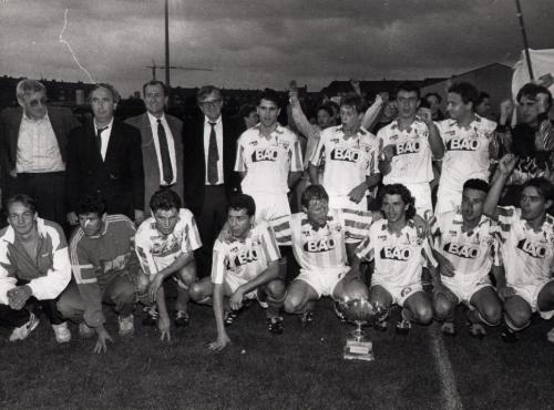 L'équipe vainqueur de la Coupe de Basse-Normandie en 1992